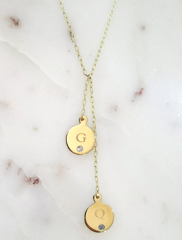 Customizable Initial & Birthstone Necklace Lariat in Yellow Gold