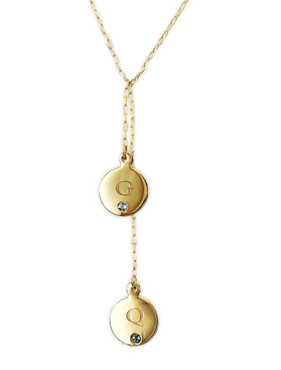 Custom Initial & Birthstone Necklace Lariat Yellow Gold