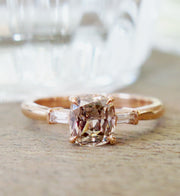 Tia Rose Gold and Champagne Diamond Engagement Ring Three Stone Baguettes