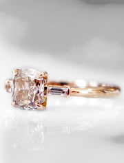 Tia Three Stone Champagne Diamond Engagement Ring in Rose Gold