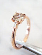 Tia Champagne Grey Diamond Three Stone Engagement Ring With Baguettes in Rose Gold