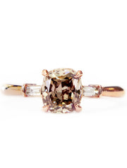 Tia Champagne Diamond Rose Gold Three Stone Engagement Ring