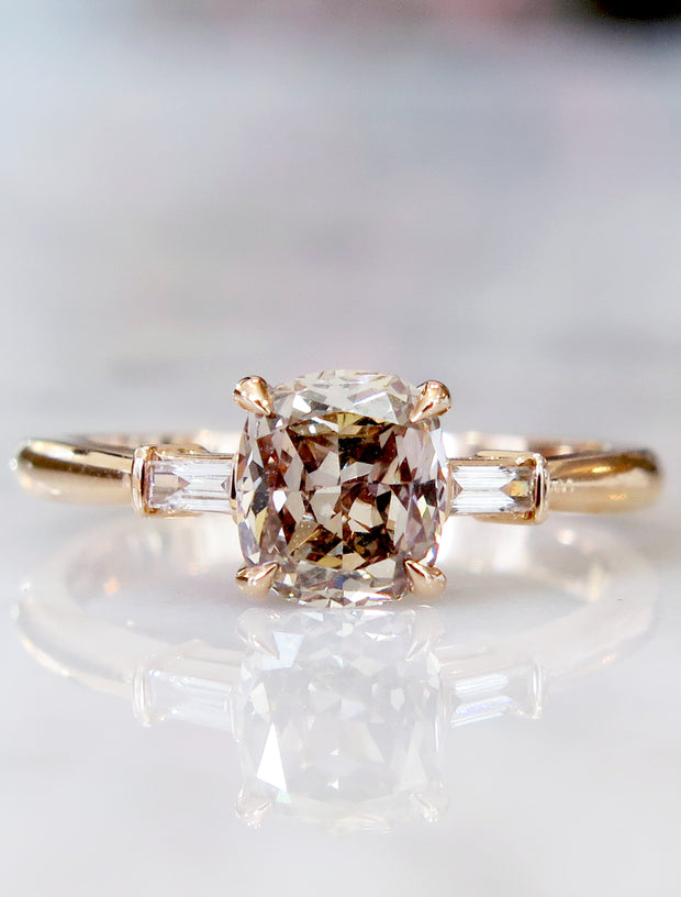 Tia Champagne Diamond Rose Gold Engagement Ring Three Stone Baguettes NYC
