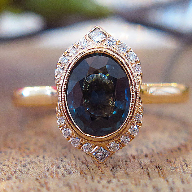 Tillary Custom Teal Sapphire Halo Engagement Ring in 18k Rose Gold by Dana Walden Bridal in NYC