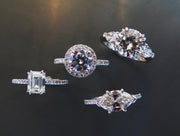A selection of classic diamond & platinum rings designed by Dana Walden Bridal NYC