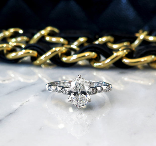 Delicate oval diamond engagement ring with unique vintage inspired band handmade in platinum - Tulia