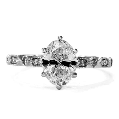 Tulia Oval Diamond Engagement Ring - Custom, Conflict Free, Vintage Inspired - NYC