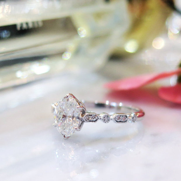 Vintage inspired oval diamond ring in platinum - side profile - Tulia