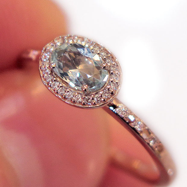 Valda East West Light Blue Sapphire Halo in Rose Gold Under $2000
