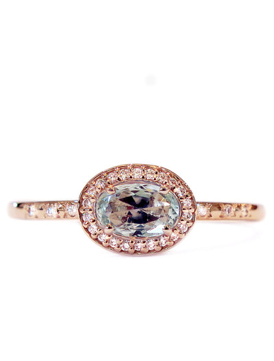 Valda East West Sapphire Halo Engagement Ring in Rose Gold