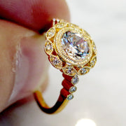 Valencia Unique Diamond Halo in Yellow Gold
