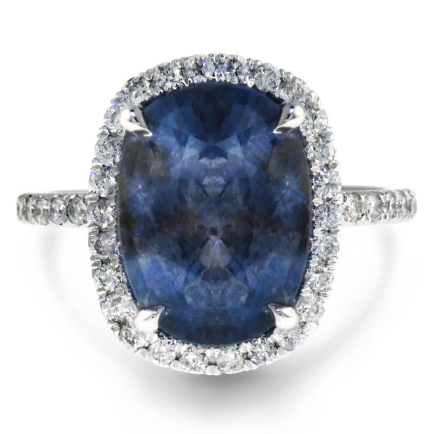 Valora 6 carat blue grey sapphire engagement ring in oval cut white gold with conflict free diamonds
