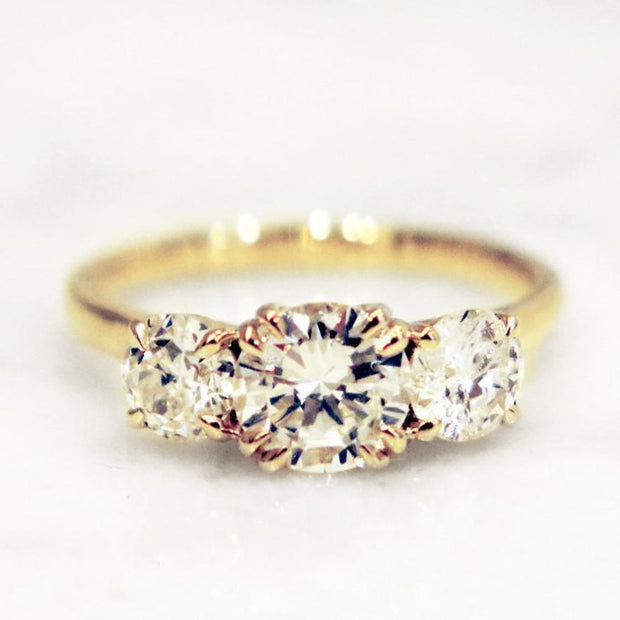 Victoria 1.7ctw Round Diamond <br/> Three Stone Engagement Ring