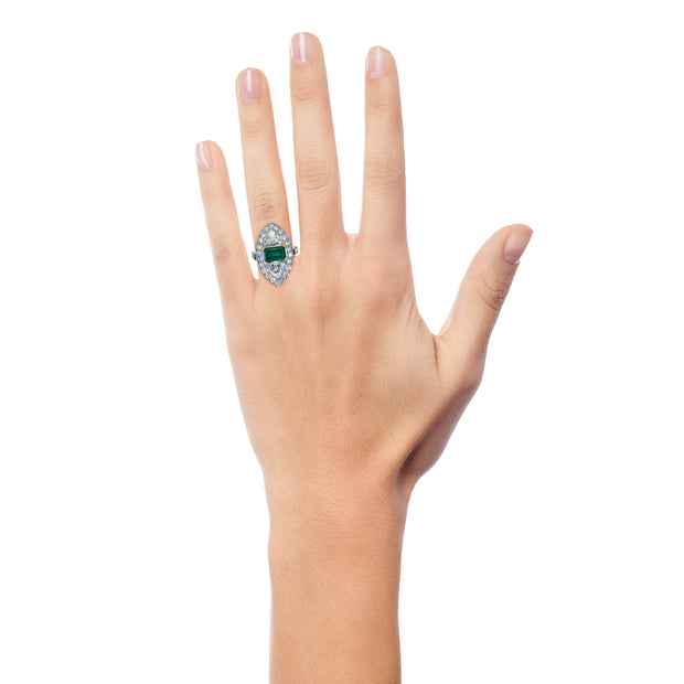 Vivia Unique Emerald and Diamond Engagement Ring Vintage on Hand