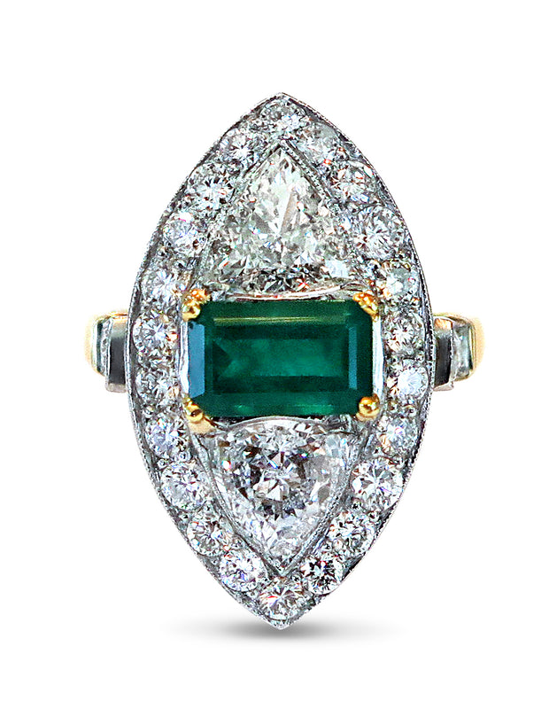 Vivia Emerald and Diamond Engagement Ring in Unique Navette Design Vintage