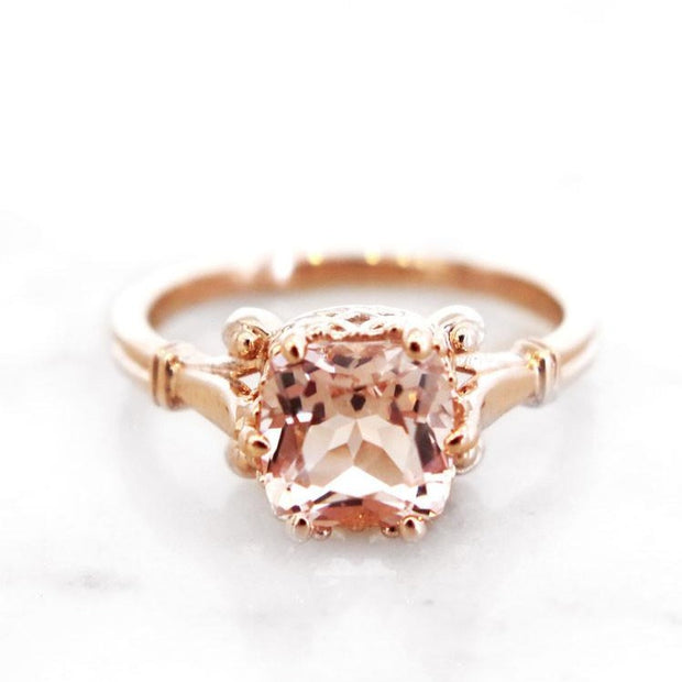 Artsy cushion cut morganite engagement ring in rose gold - Wren