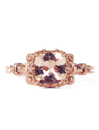 Unique morganite engagement ring in rose gold with cushion cut stone and vintage accents - Wren