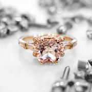 Unique cushion cut morganite engagement ring with vintage accents in rose gold - Wren