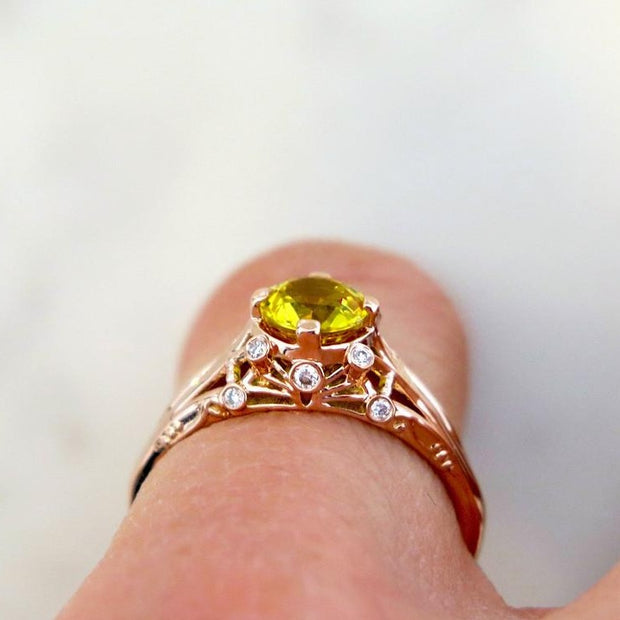 Shown On Hand Finger - Yasmine - Unqiue Engagement Ring - Yellow Sapphire And Diamonds In Rose Gold - Dana Walden Bridal - NYC