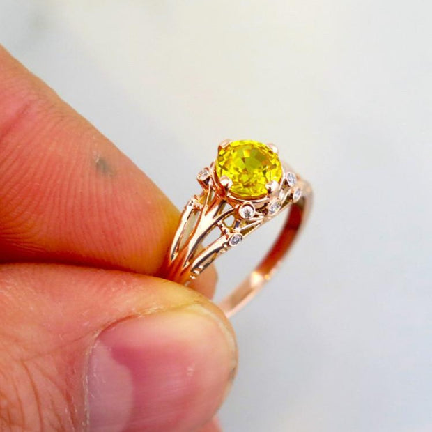 Shown On Hand - Yasmine - Unqiue Engagement Ring - Yellow Sapphire And Diamonds In Rose Gold - Dana Walden Bridal - NYC