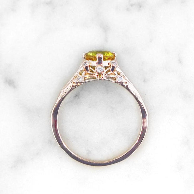 Side Profile - Yasmine - Unqiue Engagement Ring - Yellow Sapphire And Diamonds In Rose Gold - Dana Walden Bridal - NYC