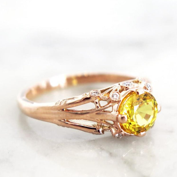Side View - Yasmine - Unqiue Engagement Ring - Yellow Sapphire And Diamonds In Rose Gold - Dana Walden Bridal - NYC