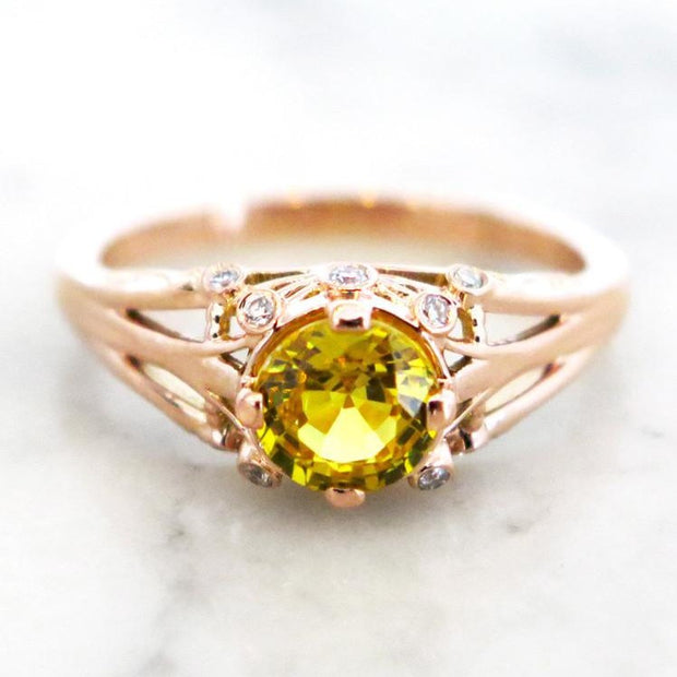 Yasmine - Unqiue Engagement Ring - Yellow Sapphire And Diamonds In Rose Gold - Dana Walden Bridal - NYC