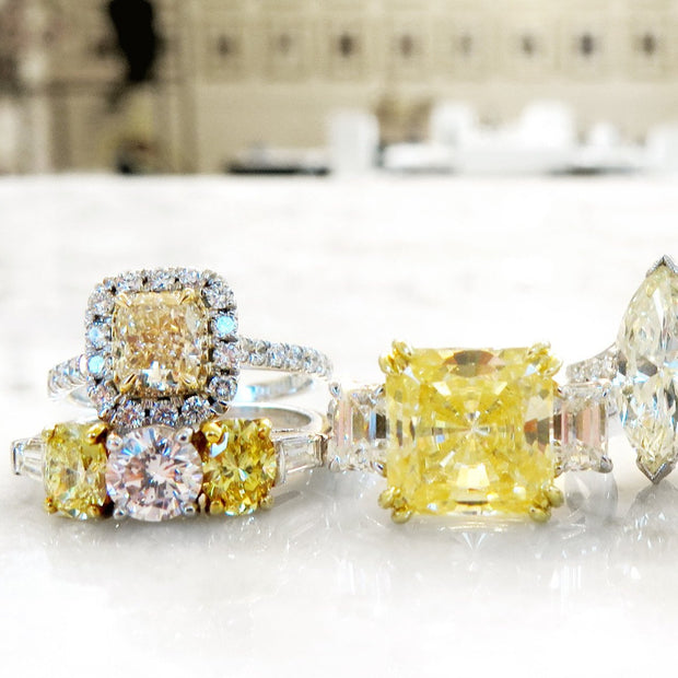 A selection of yellow diamonds jewels by Dana Walden Bridal NYC