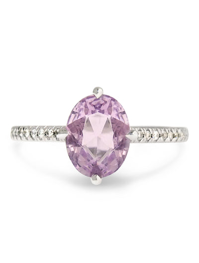 pale pink sapphire engagement ring with thin micro pave diamond band, designed in white gold by Dana Walden Bridal