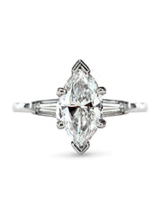 Anoki Marquise Diamond Engagement Ring with Tapered Baguette Diamond Side Stones in Platinum Vintage