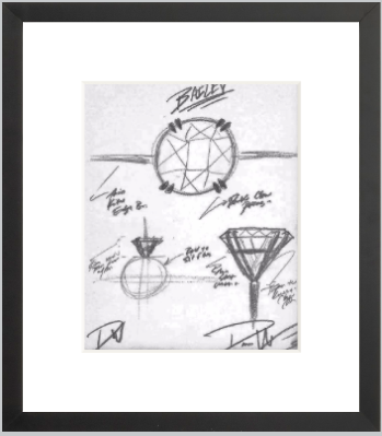 BAILEY Engagement Ring Sketch (Framed Print)