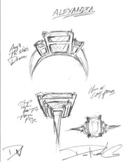 Alexandra three stone sapphire & diamond engagement ring sketch