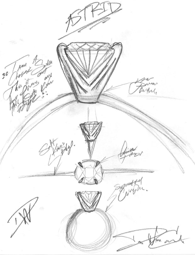 Astrid diamond engagement ring sketch by designer, Dana Walden Chin