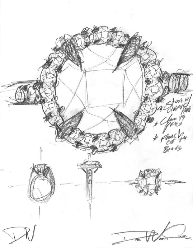 Primrose classic diamond halo sketch by Dana Walden Chin