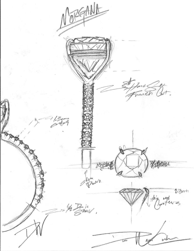 Morgana Engagement Ring Sketch by Dana Walden Bridal, NYC