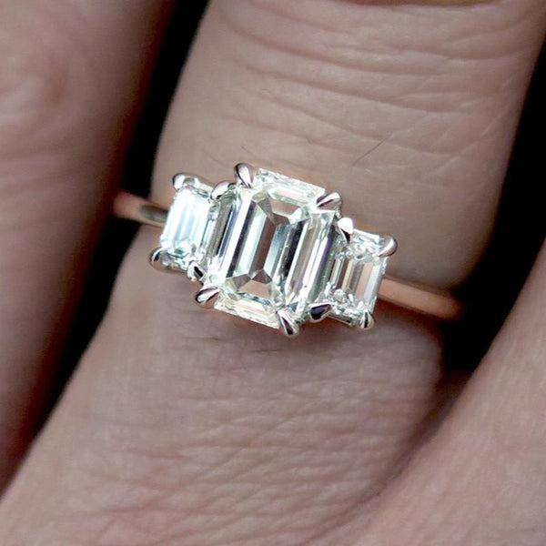 Emma Emerald Cut 3 Stone Diamond Engagement Ring In White