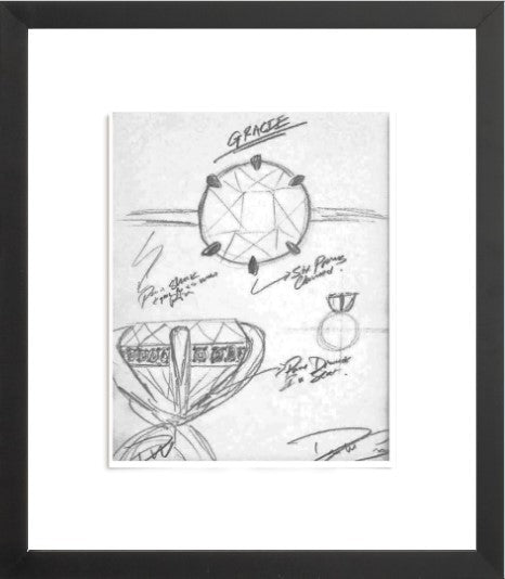GRACIE Engagement Ring Sketch (Framed Print)