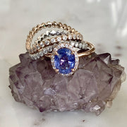 Stacking Curved Wedding Diamond Wedding Rings With Rose Gold Sapphire Engagement Ring