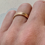 Contoured Men's Wedding Band in Rose Gold with Modern Design Handmade in NYC