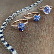 Sapphire and Diamond Engagement Rings in Rose Gold