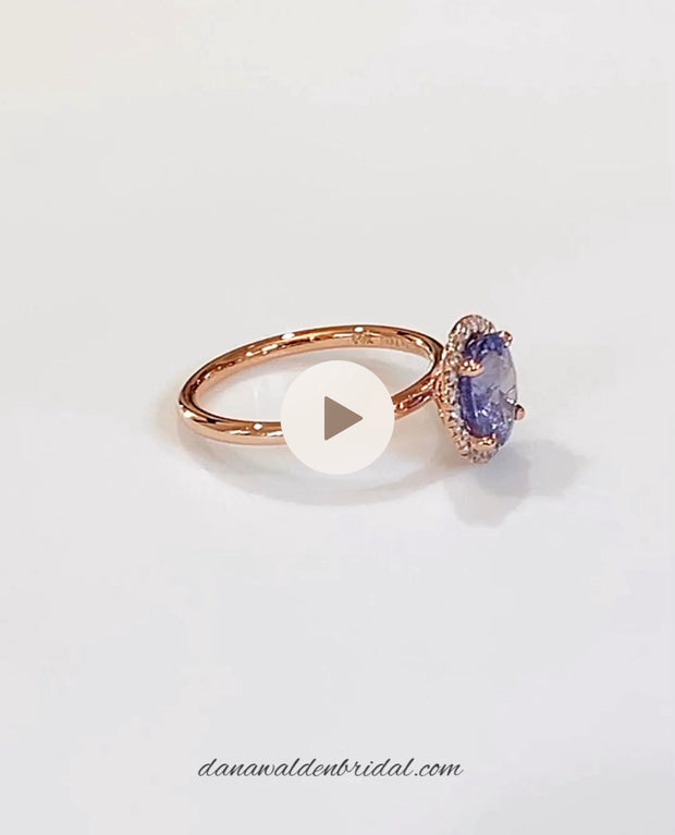 Leila 2ct Purple-Blue Sapphire Halo <br/> Engagement Ring