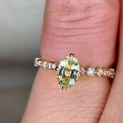 Light Green Sapphire Engagement Ring with Thin Diamond Band in Yellow Gold by Dana Walden Bridal, NYC