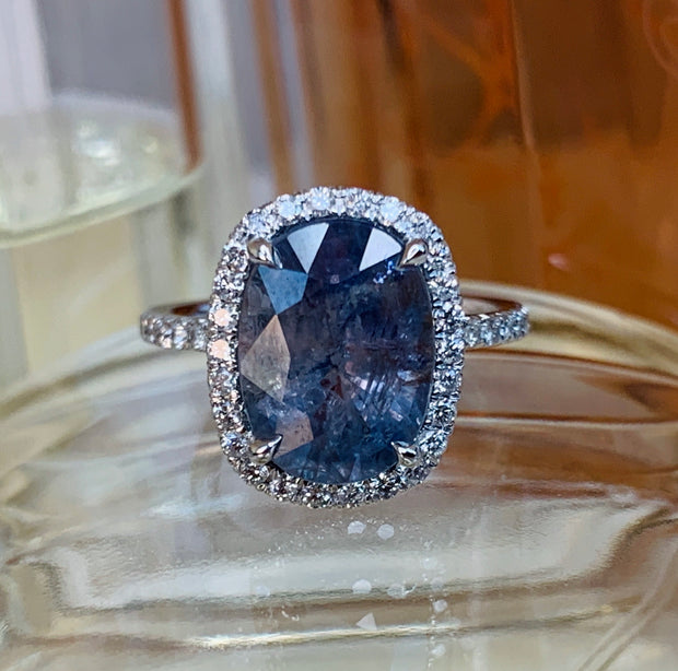 Valora 6ct Blue-Grey Sapphire Halo <br/> Engagement Ring