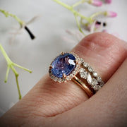 Purple Sapphire Rose Gold Halo Engagement Ring - Show with Wreath Diamond Ring and Arsen Diamomd Wedding Band - Shown on finger