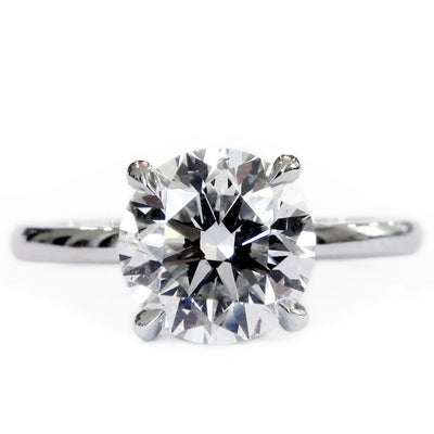 2 carat lab-grown diamond solitaire ring, handmade by  Dana Walden NYC.