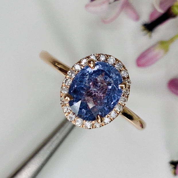 Purple Sapphire Rose Gold Halo Engagement Ring