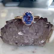 Purple Sapphire Rose Gold Halo Engagement Ring - NYC