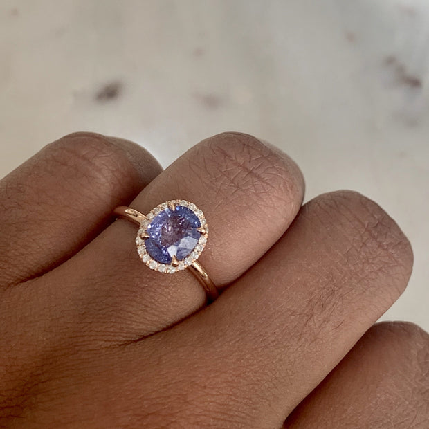 Purple Sapphire Halo Engagement Ring in White Gold - Shown On Hand