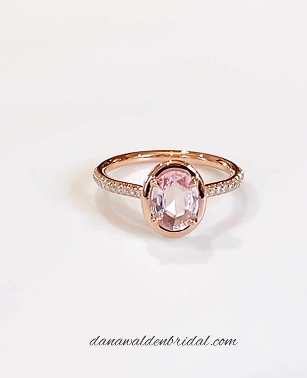 Remi 1.20ct Peach-Pink Sapphire <br/> Engagement Ring w/ Micro-Pavé