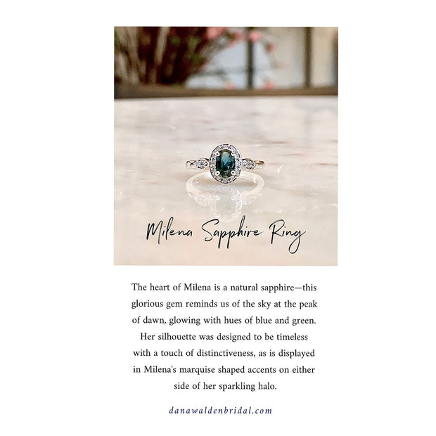 Milena Teal Sapphire & Diamond Halo <br/> Engagement Ring